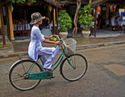 Hoi An-aodai-bicycle-south Vietnam-vietnam-vietnamese People-image